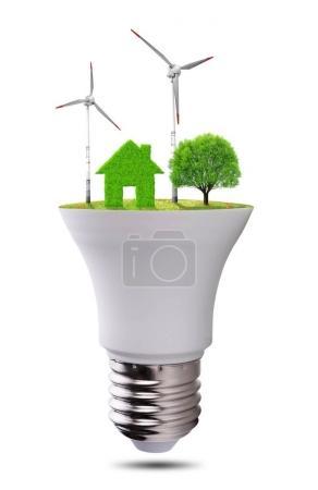Eco LED light bulb isolated on white background.
