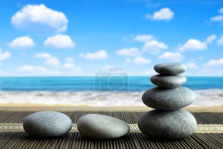 Stack of Zen pebble stones on the beach.