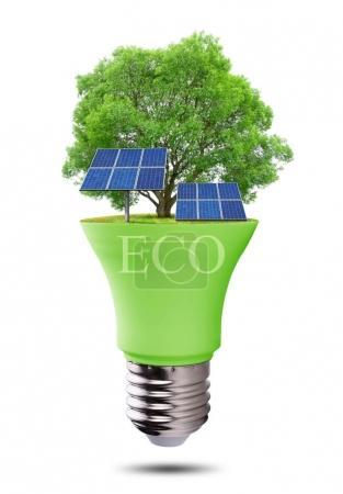 Eco LED light bulb with solar panels isolated on white background.