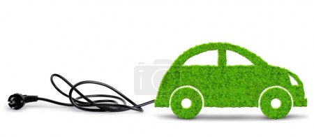 Photo for Green eco car with electric plug on white background. Concept of ecology transport. - Royalty Free Image