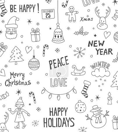 Cristmas doodle set pattern