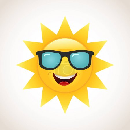 Illustration for Smiling yellow Sun in sunglasses icon - Royalty Free Image