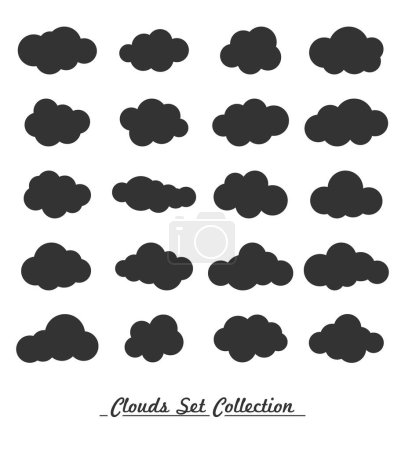 Illustration for Clouds on white background set, vector - Royalty Free Image