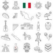 Mexico icons set