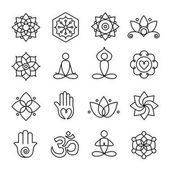 Collection of yoga icons relaxation and meditation symbols