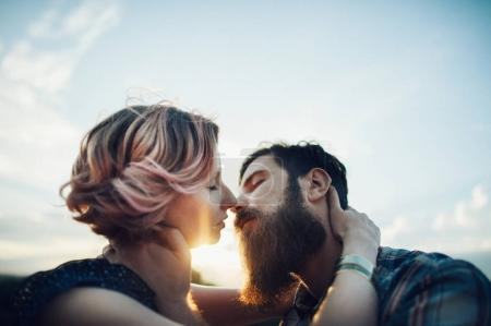beautiful couple in love kissing