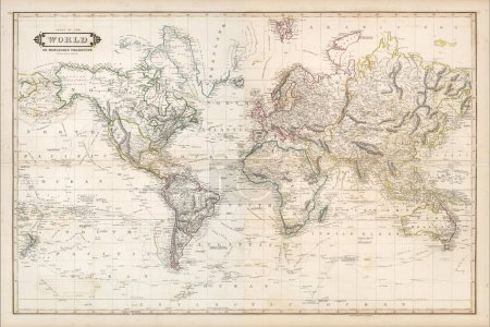 vintage world map with continents and islands