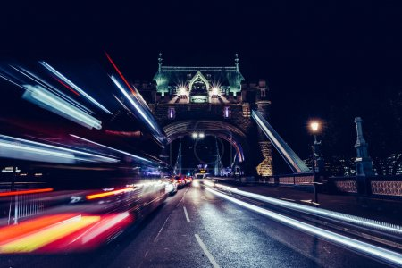 City light trails of London bus
