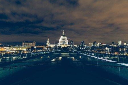 London skyline with Millennium Bridge