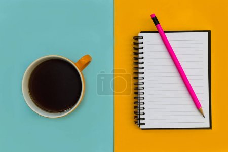 Photo for Minimal stationery education notebook with coffee overhead on bright background - Royalty Free Image