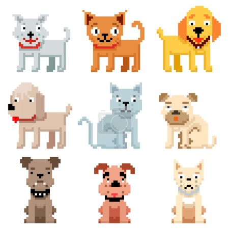 Pixel art pets icons. 8 bit dogs and cats vector