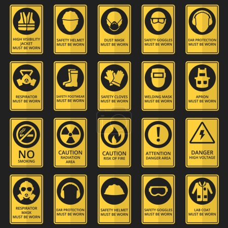 Illustration for Health and safety signs. Safety equipment must be worn. Vector illustration - Royalty Free Image