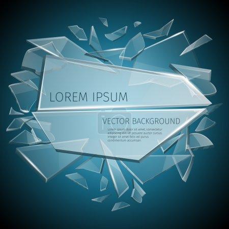 Illustration pour Design vectoriel d'étiquette en verre cassé. Partie en verre transparent et modèle de verre pour l'illustration de texte - image libre de droit