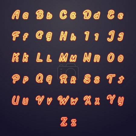 Neon vector letters. Glow tube brightness symbols