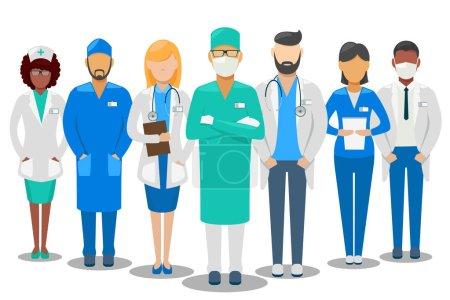 Illustration for Medical good team. Hospital staff doctors and nurse. Vector illustration - Royalty Free Image