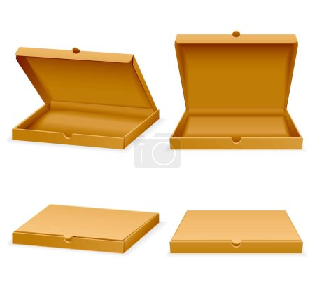 Vector isometric pizza cardboard box. Opened and closed packaging