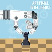 Artificial intelligence technology Robot hand plays chess vector illustration