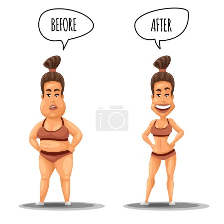 Perfect woman. Girl before and after weight loss vector illustration