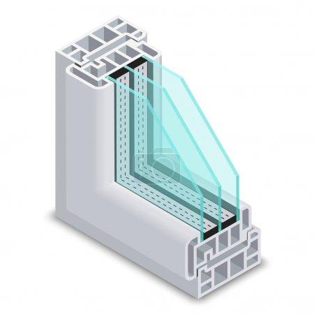 Energy efficient window cross section vector illustration