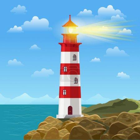 Lighthouse on ocean or sea beach cartoon background vector illustration