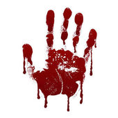 Bloody handprint Horror dirty scary blood vector background