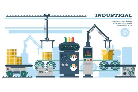 Industrial conveyor belt line vector illustration