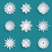 Vector paper flowers set 3d origami icons
