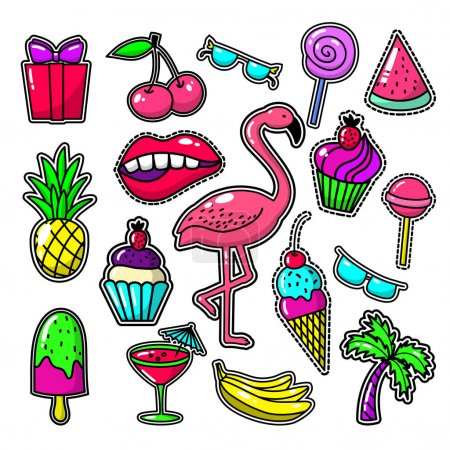 Embroidery tropical fashion patches. Patch vector set with sweet food, palm and flamingos