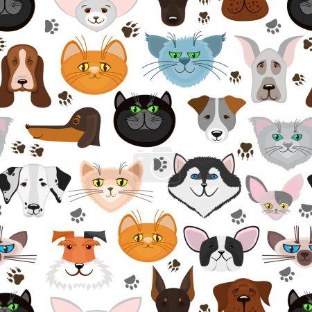 Illustration pour Modèle sans couture pour chien et chat. Arrière-plan avec des animaux mignons. Illustration vectorielle - image libre de droit
