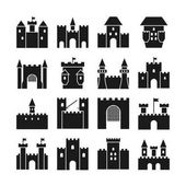 Castle vector icons Medieval  walls and gothic tower black silhouettes