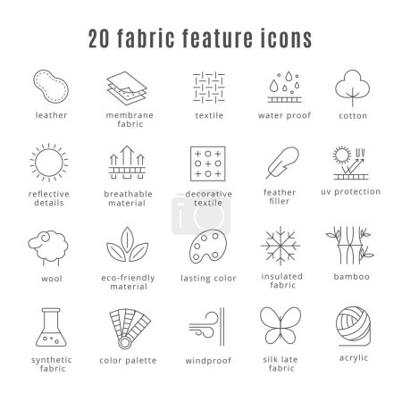Fabric feature line icons. Comfort wear and lightweight, synthetic clothes wool waterproof clothing signs