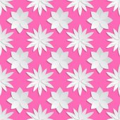 Paper cut flowers background Origami vector floral pattern