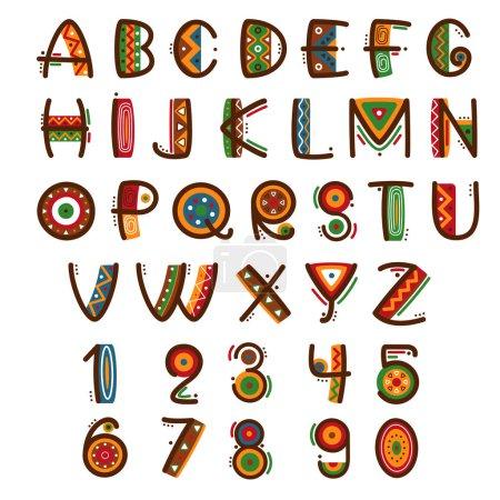 Illustration pour Fonte africaine ethnique primitive. Alphabet vectoriel safari dessiné à la main. Lettres abc type set illustration - image libre de droit