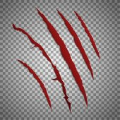 Slash scratch set on transparent background Vector scratching beast red claw marks