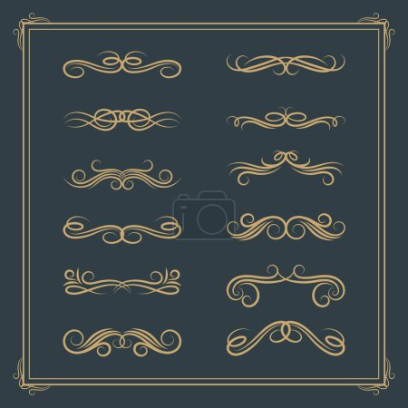 Vintage retro calligraphic design elements. Vector scroll victorian floral element set for wedding cards and invitations