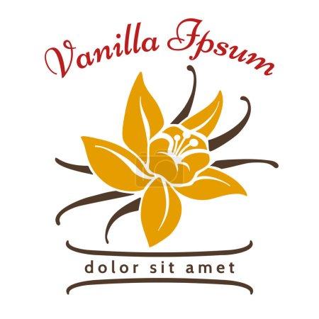 Illustration pour Logo de la saveur de dessert vanille. Vanilles fleur aromatique et icône vectorielle silhouette haricot isolé sur fond blanc. Illustration du logo biologique épice aromatique - image libre de droit