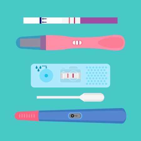 Illustration for Pregnancy test flat icons. Ovulation medical tests result vector illustration. Examination test pregnant woman - Royalty Free Image