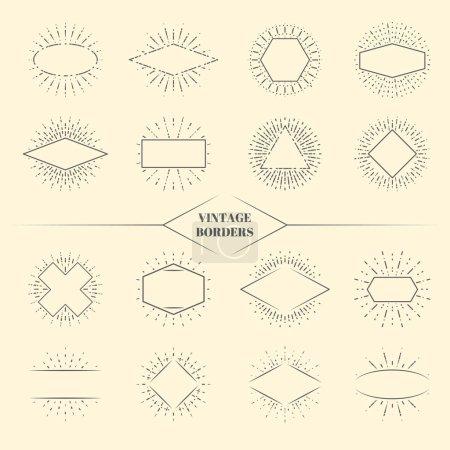 Illustration pour Vintage beauté rayons de soleil bordures ou rétro cercles étoile explosion images vectorielles illustration. Triangle carré et ovale forme irradiant coup de soleil - image libre de droit