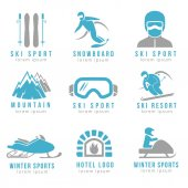 Ski resort and mountain hotel logo set with skiing  snowboarding