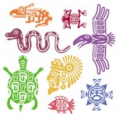 Ancient mexican symbols vector illustration Mayan culture indian  with totem patterns