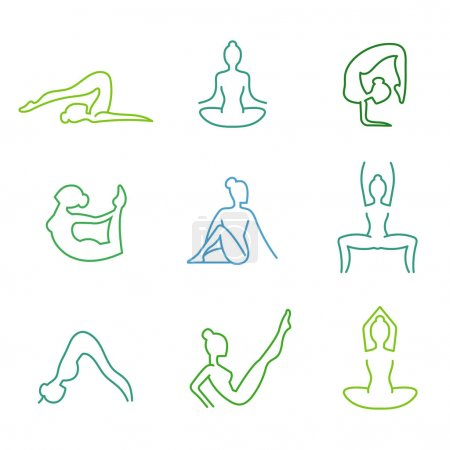 Yoga poses vector silhouettes set for woman health...