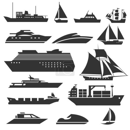 Illustration for Ships and boats icons. Barge, cruise ship, shipping and fishing boat vector signs. Black silhouette of marine vehicles illustration - Royalty Free Image