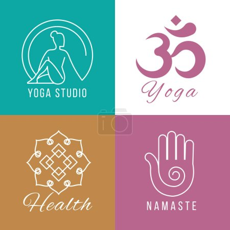 Illustration for Yoga logo set. Floral and nature harmony, zen and health vector symbols. Balance and meditation signs illustration - Royalty Free Image