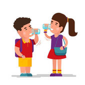 Girl drink blue refreshing relax water and boy drinking from clean glass vector illustration