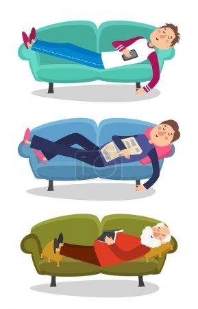 Mann schläft auf Sofa Vektor Illustration. schlafende junge und alte Männer Couch Charakter Person