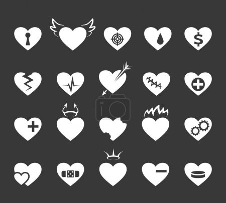 Hearts icons. Healthy and love heart, pulse hearted signs