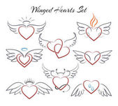 Winged heart set Hearts with wings in doodle style vector illustration isolated on white background