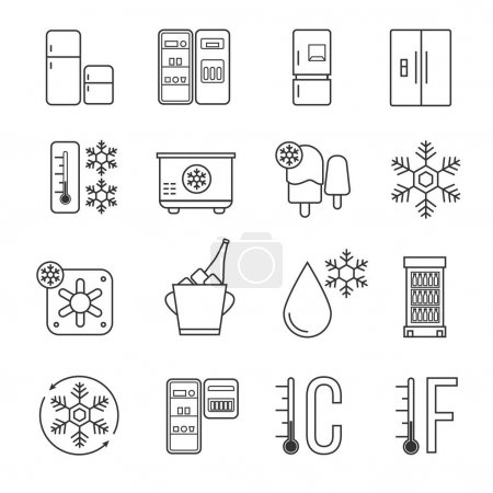 Refrigerator, home freezer and industrial fridge linear icons. Food frozen and cold machine thin line signs