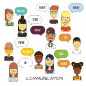 People communication vector illustration International foreign language communications