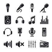 Studiovými mikrofony, hudba vektorové ikony